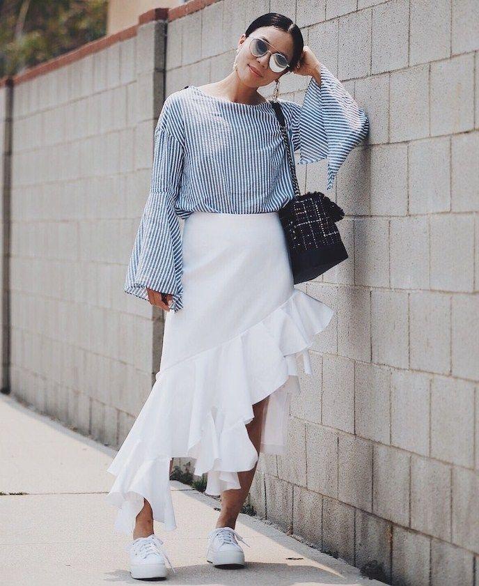 ee28bec0ec27 7.16 hi-low (Zara bell sleeve top + Jacquemus asymmetrical ruffle skirt + Superga  platform sneakers + Chanel tweed bag + Gentle Monster sunnies + Marc Jacob  ...