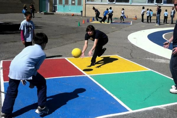 Play Begins When The Person Who Just Entered The Four Square In Square D Or 4 Serves The Ball The Ball Playground Games Recess Games Playground Painting