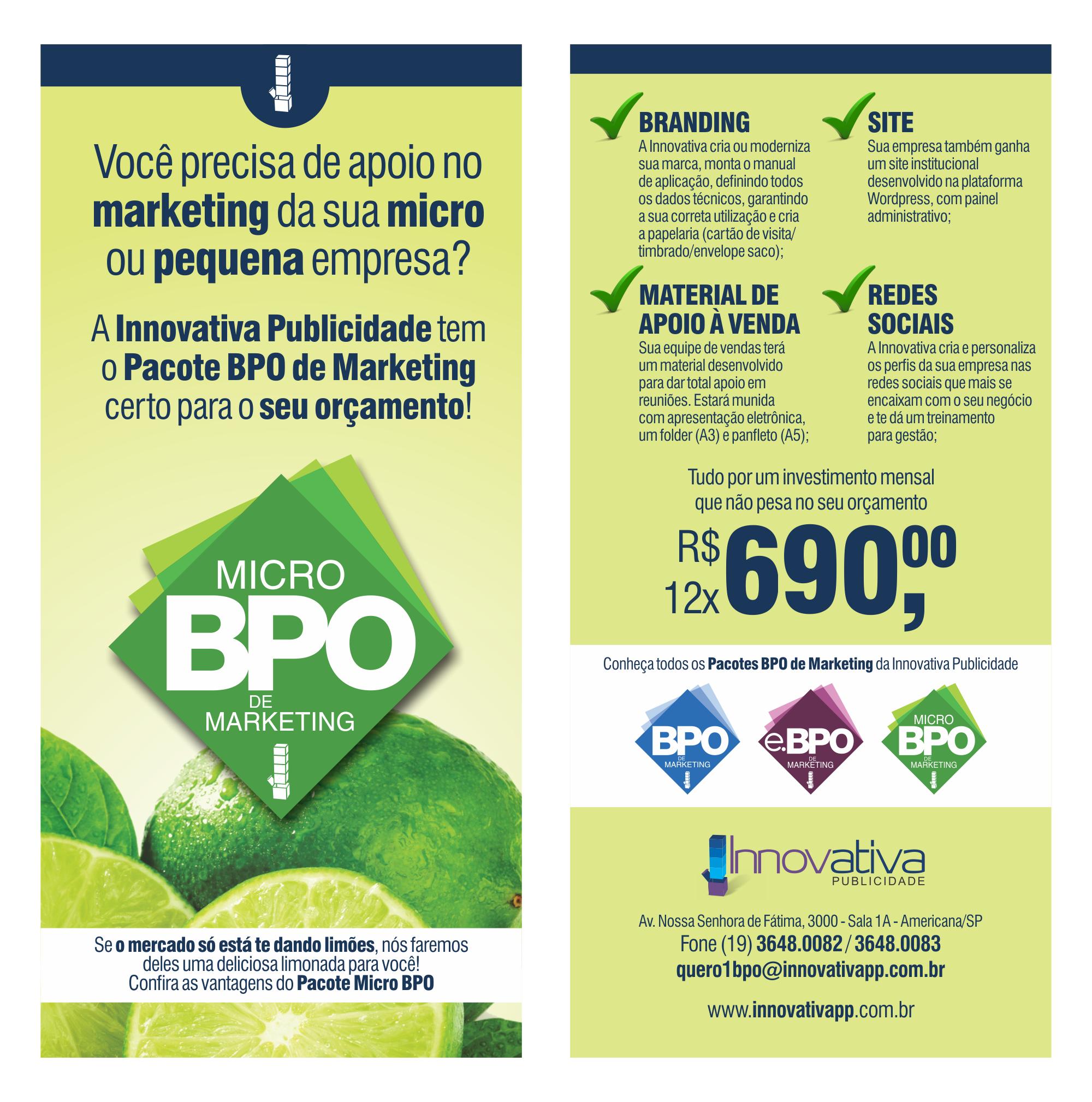 Panfleto de divulgação do Micro BPO da Innovativa Publicidade