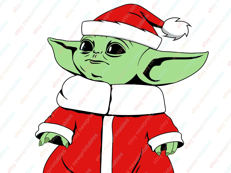 Baby Yoda svg, Baby Yoda Santa hat clip art, Christmas
