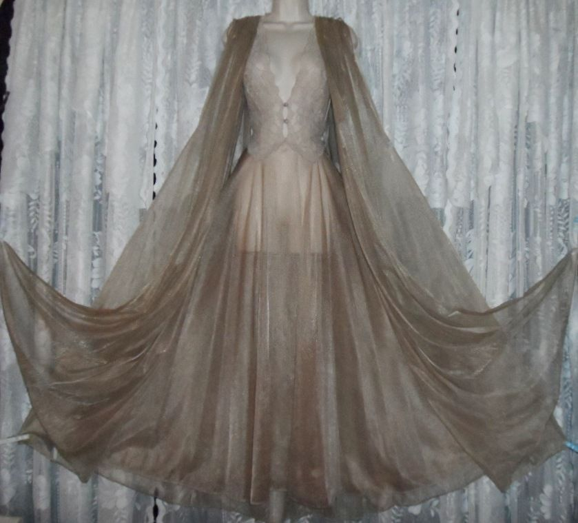 Vtg Hollywood Taupe Sheer Full Chiffon Peignoir Robe Nightgown Negligee Gown M T Night Gown Taupe Sheers Vintage Gowns