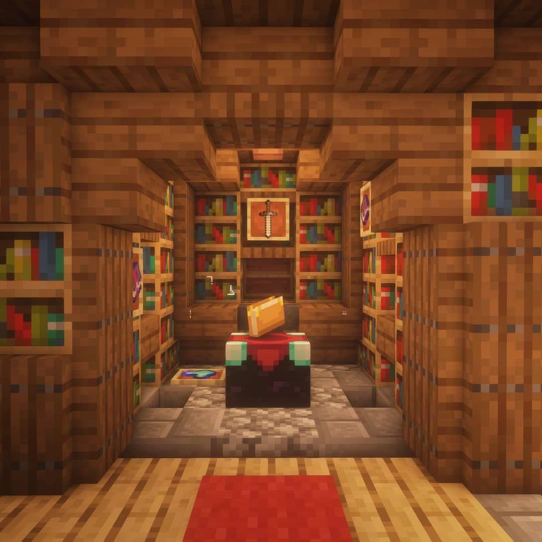Sala De Encantamentos In 2020 Minecraft Room Minecraft Crafts Minecraft Construction
