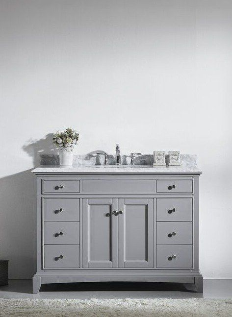 48 inch Gray Bathroom Vanity Set with White Carrera Marble Top