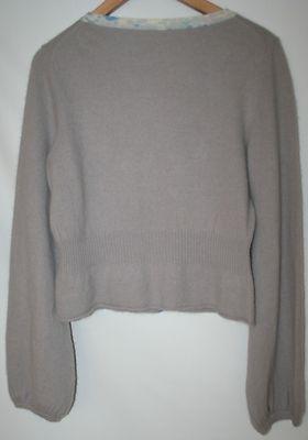 Free People Angora/Wool Gray Lavender Cardigan Sweater with Beading Size Large