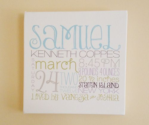 Idea for boys room with their birth information same basic personalized baby gift idea remember the day canvas negle Image collections