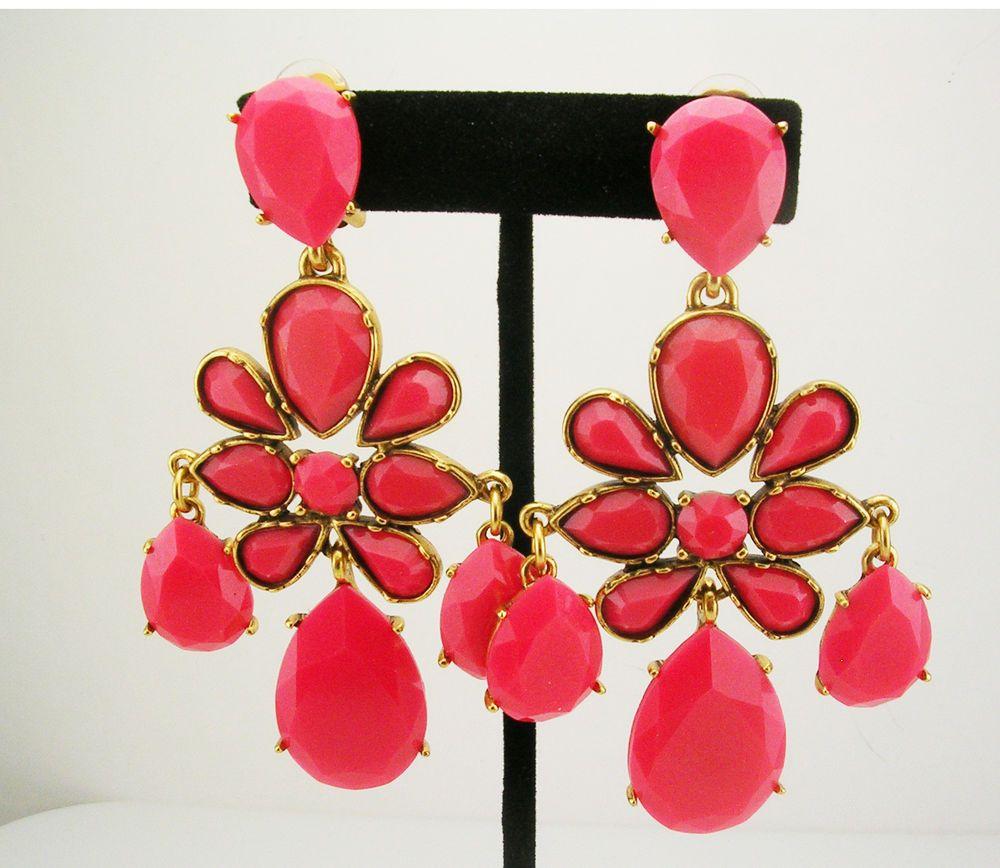 Oscar de la renta faceted cabochon chandelier earrings clip on 3 12 clip on chandelier fashion earrings ebay arubaitofo Choice Image