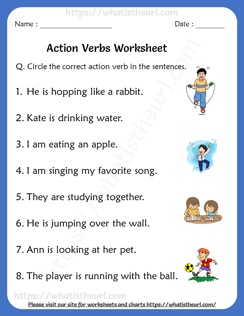 small resolution of Action Verbs Worksheets for Grade 1   Action verbs worksheet