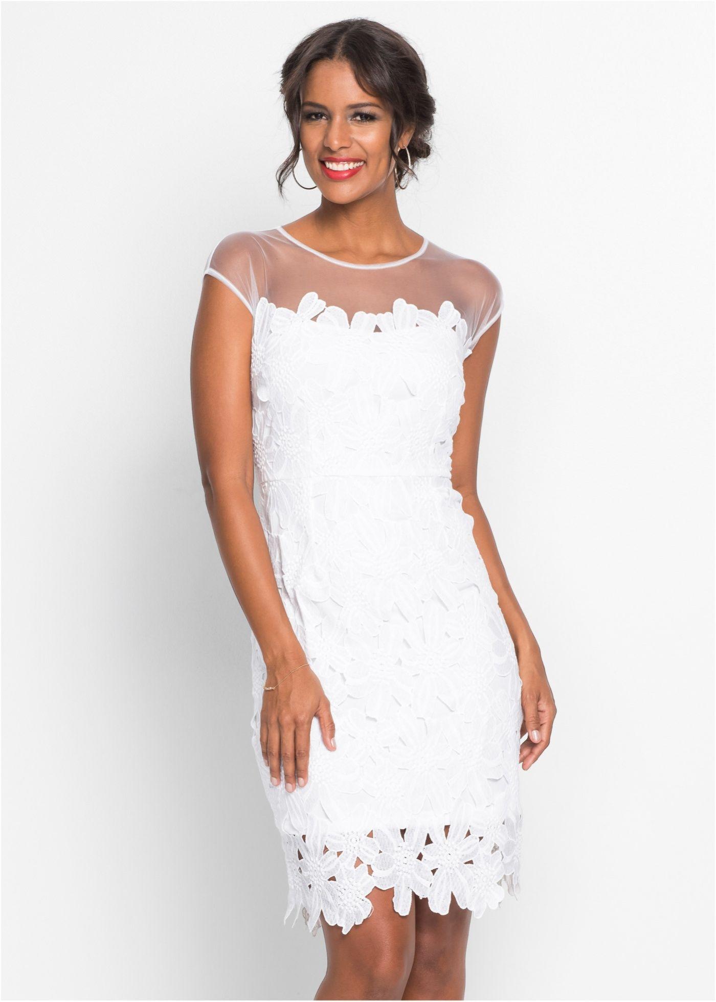 Kleid mit Blumenspitze weiß - Damen - bonprix.de  Kleider, Kurze
