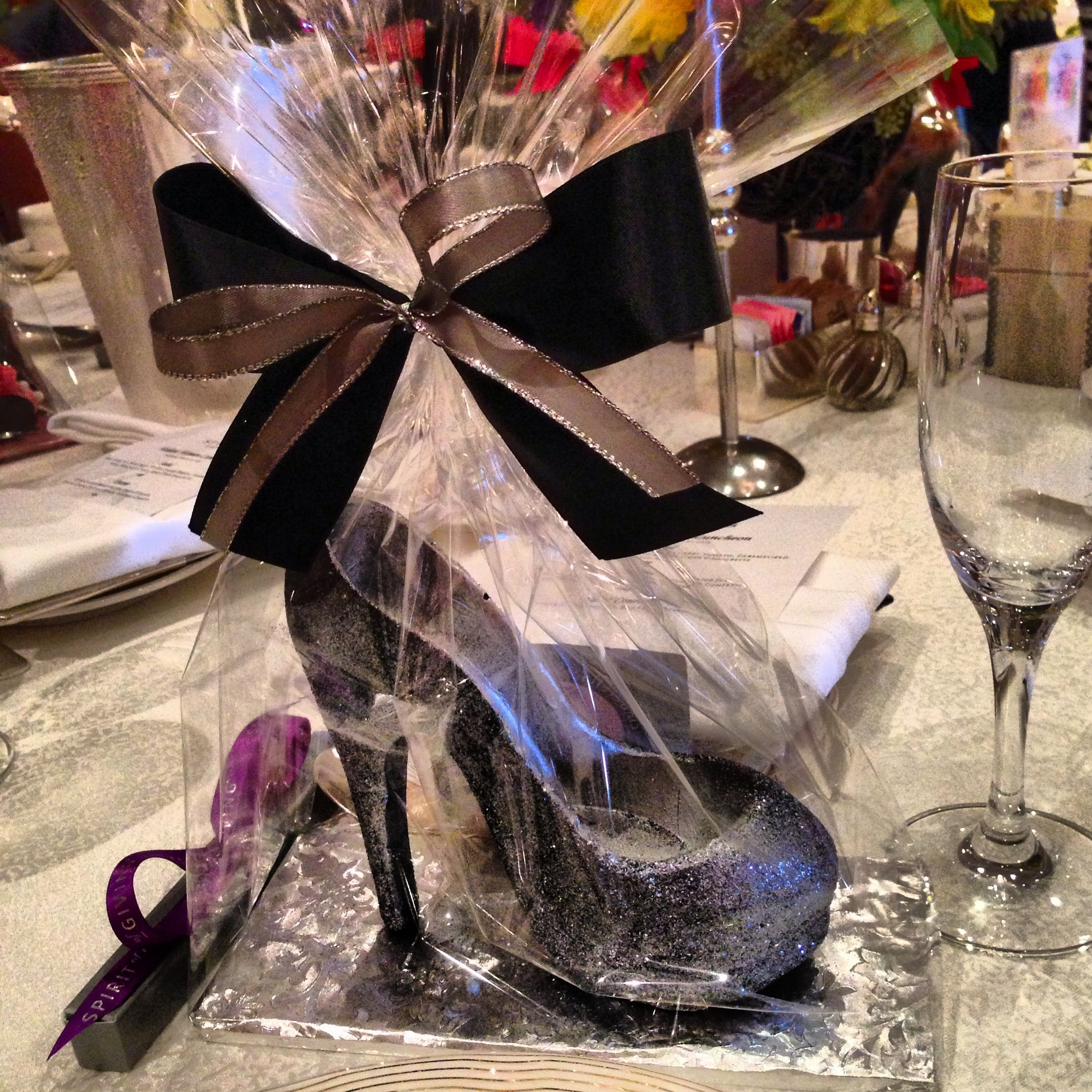 Our chocolate shoe was front and center as party favors ...