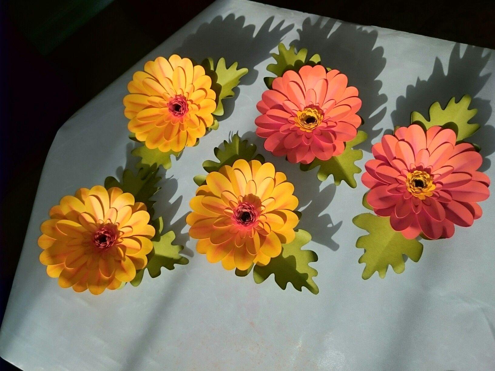 Gerber daisies made with Cricut Flower Shoppe cartridge using daisy cut, distress inks, and gelatos