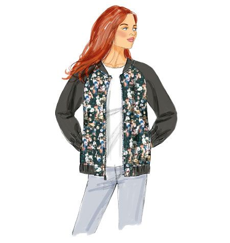 From Butterick, the bomber jacket you\'ve been waiting for. Zip front ...
