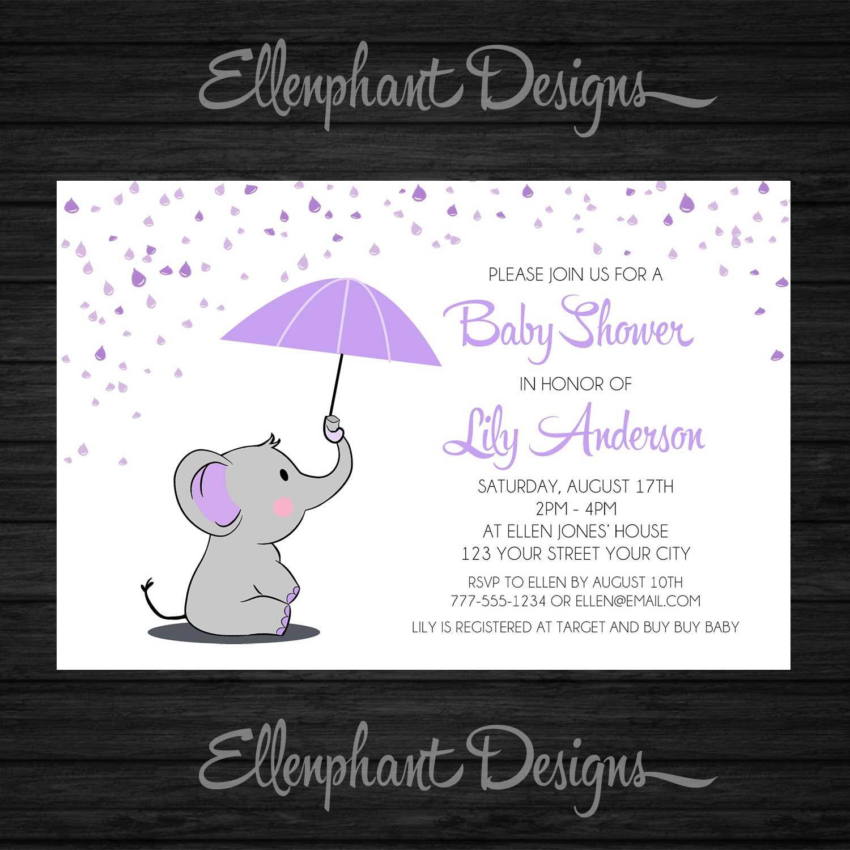 Elephant Baby Shower Invitation, girl, purple, umbrella, rain ...