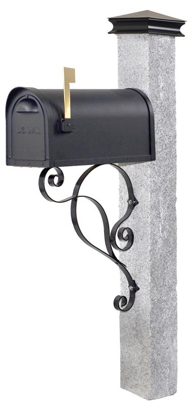 Rock 2 Thermal 2 Granite Mailbox Post With Black Iron Cap Black Iron 155 Iron Bracket Black Cast Aluminum Mailbox Call Acres Mailbox Mailbox Post Black Iron