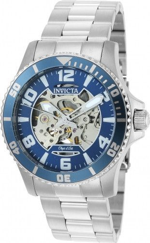 Item Invicta Men's Watch - Objet D Art Model # 22603 Retail Price $980 Case Stainless Steel Case Back Skeleton See-Through Stainless Steel Bezel Blue Corrugated Edged Stainless Steel Dial Color Blue S
