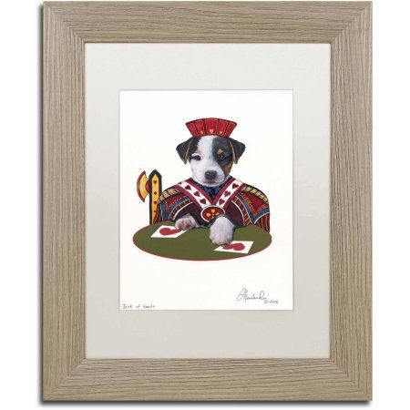 Trademark Fine Art 'Jack Of Hearts' Canvas Art by Jenny Newland, White Matte, Birch Frame, Size: 11 x 14, Assorted