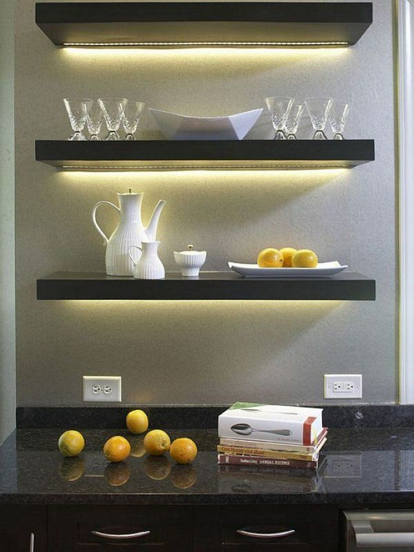 Elegant Grey Ikea Led Lighting Floating Shelves Long