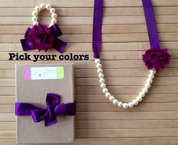 Custom shabby chic jewelry set - eggplant & plum - pick your colors - by MissSweetPeaBoutique, $21.00