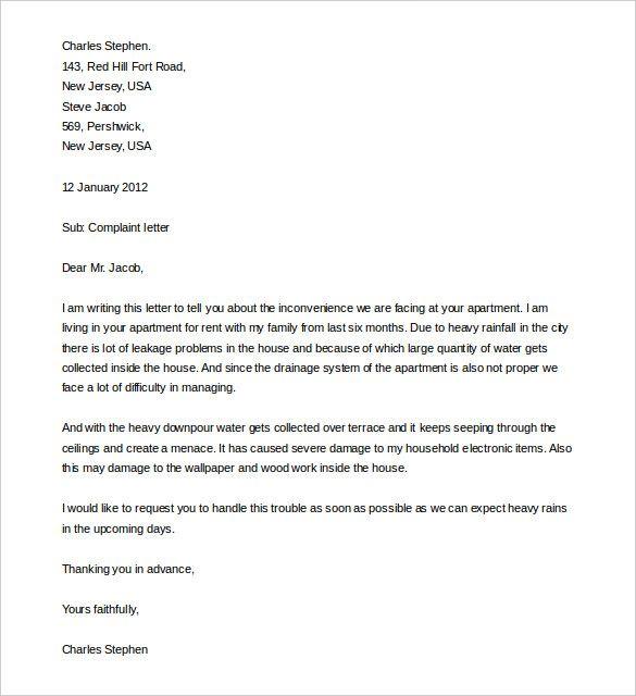 5 Complaint Letter Templates Letter Writing Format Letter