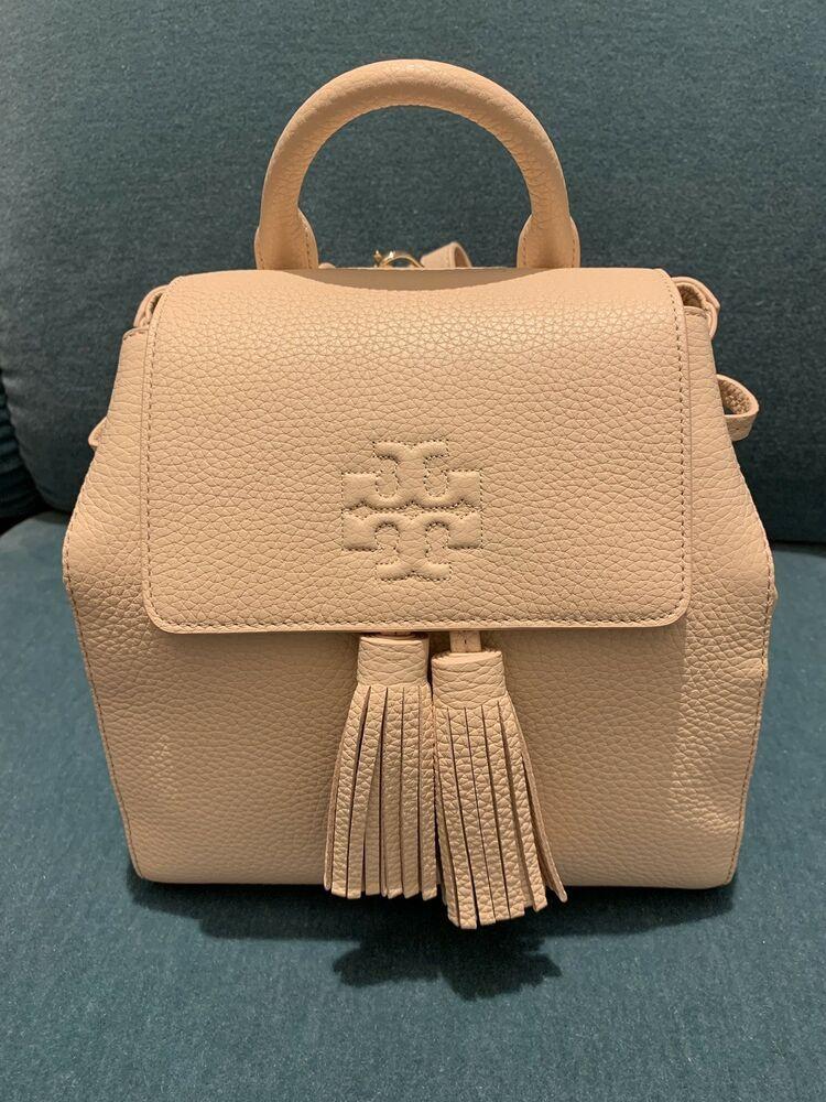 1433ef6979f NWT! Tory Burch Thea Mini Straps Backpack Melon Beige Leather Womens ...