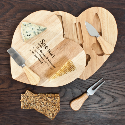 This personalised Cheese Board has a rotating tool