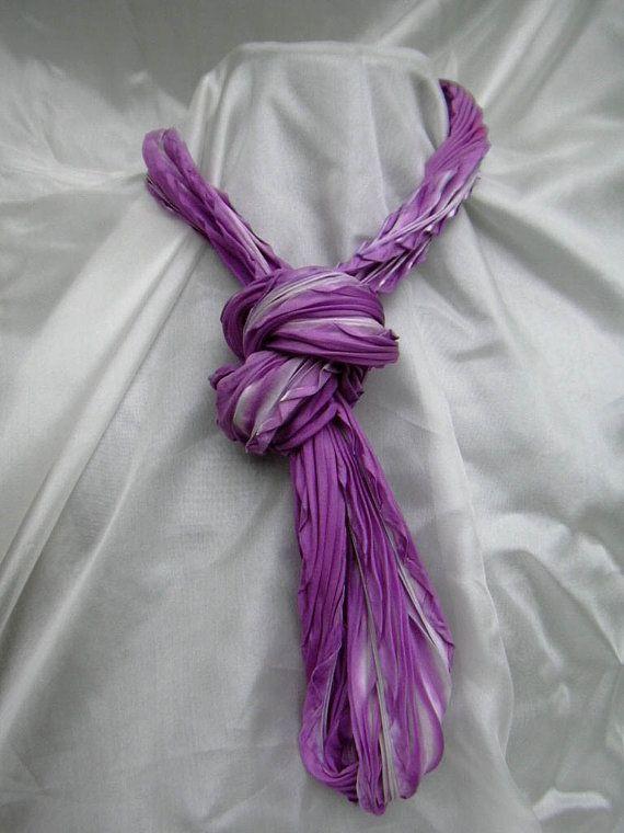 Long Pleated Silk Shibori Necklace Scarf in Orchid Purple