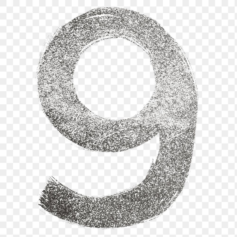 Silver Glitter 9 Number Png Brush Stroke Font Free Image By Rawpixel Com Hein Brush Stroke Font Silver Glitter Brush Strokes