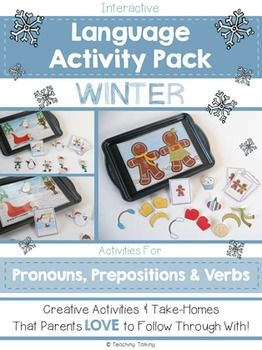 Speech Therapy: Pronouns & Prepositions for Winter   Now also includes additional activity for verbs (SVO)***  ------------------------------------------------------------------------------------------------------------------- If you are interested in this product, then please consider purchasing my  MEGA Value Bundle  - contains all four packets – one for each season (Spring, Summer. $7.00