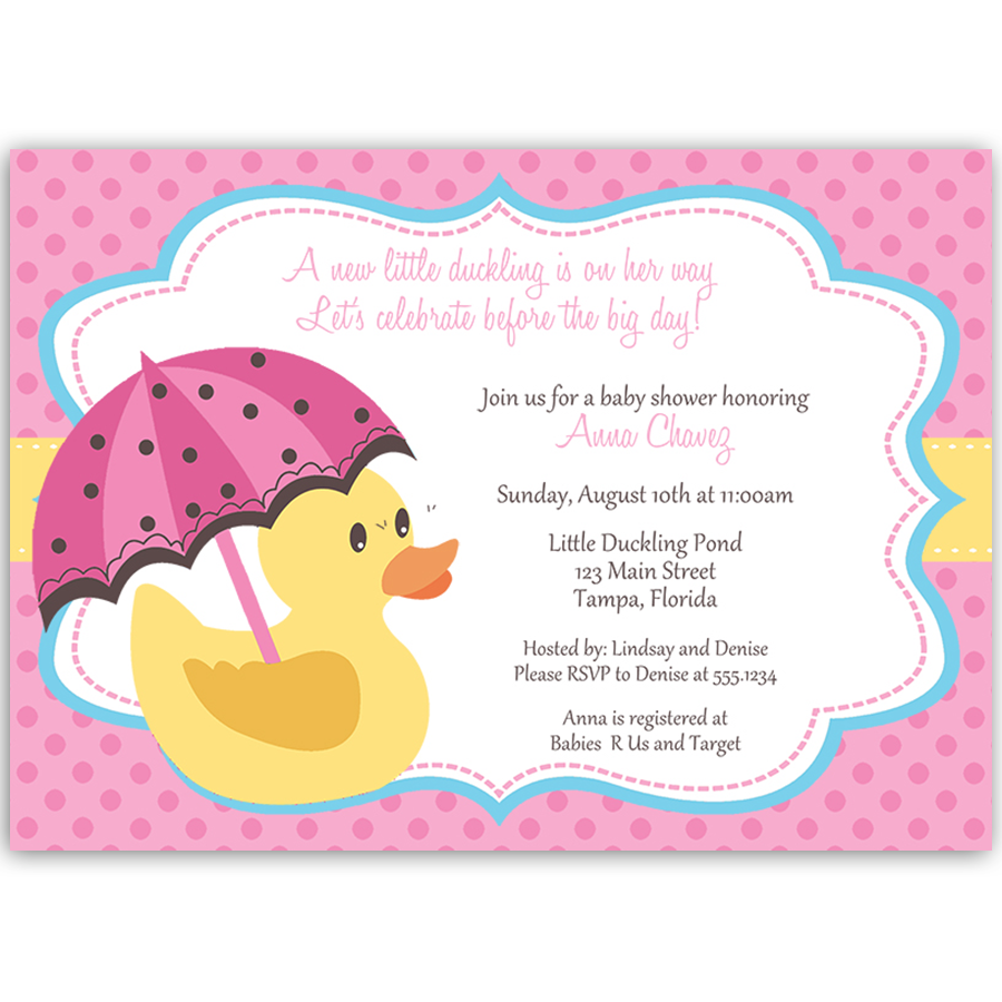 Little Duck Pink Baby Shower Invitation | Babies, Shower invitations ...