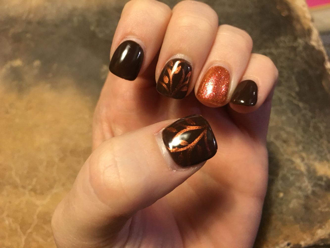 Fall Autumn Brown And Orange Leaves Gel Nails From Friendly Nails Friendly Nails Nails Orange Nails