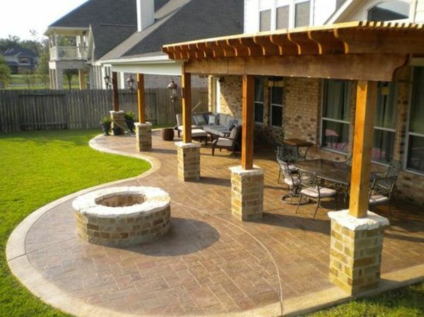 Pergola patio moderne gartengestaltung ideen feuerstelle for Gartengestaltung pavillon ideen