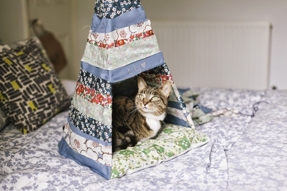 The cutest thing! DIY No Sew Cat TeePee by Take Courage