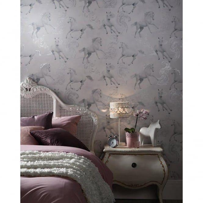 The Glittery World Of Silver Bedroom Ideas: Arthouse Arthouse Carmarillo Horse Pattern Silver Glitter