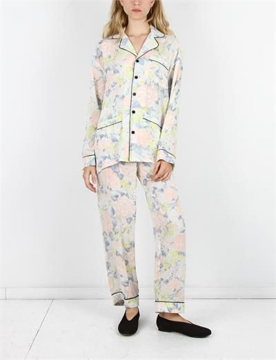Creatures of Comfort Pajama Set Silk Crepe Flower