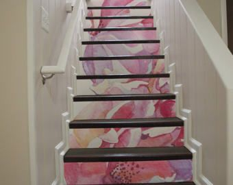 10 degr d calque contremarche escalier autocollant escalier fleurs aquarelle roses roses. Black Bedroom Furniture Sets. Home Design Ideas