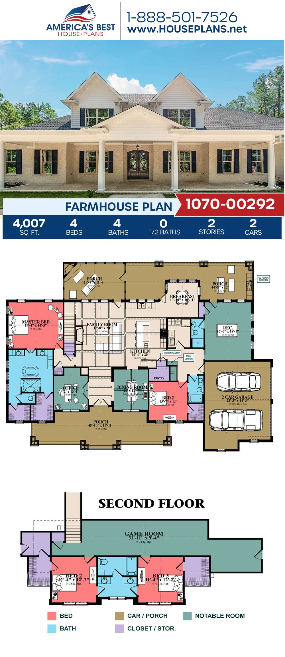Check out this goregous Farmhouse design! Plan 1070-00292 outlines 4,007 sq. ft., 4 bedrooms, 4 bathrooms, a breakfast nook, a kitchen island, an open floor plan, a home office, and a media room. #farmhouse #openfloorplan #twostoryhome #architecture #houseplans #housedesign #homedesign #homedesigns #architecturalplans #newconstruction #floorplans #dreamhome #dreamhouseplans #abhouseplans #besthouseplans #newhome #newhouse #homesweethome #buildingahome #buildahome #residentialplans