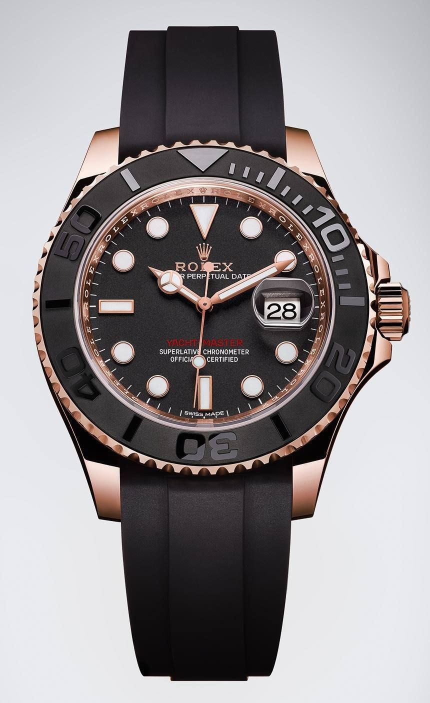 Rolex YachtMaster 116655 Watch In Everose Gold With Black