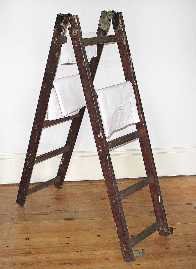 Vintage Step Ladder Wooden Double Sided Hinged