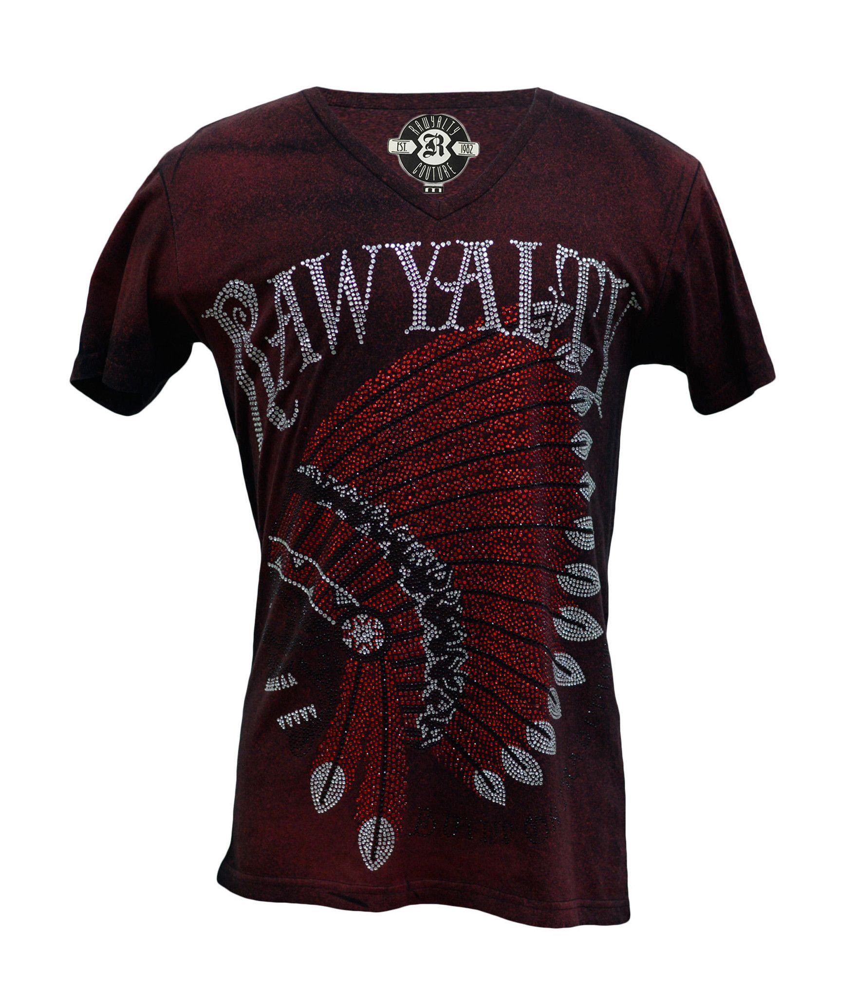 Rawyalty Couture Men\'s Full Bling RAW Indian T-Shirt Mineral Red ...