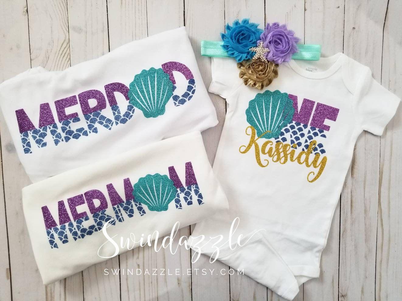Mermaid birthday family shirts mermom merdad mermaid