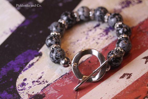 Bracelet Black Obsidian and Crystal Rondelles by PickleStiksandCo, $22.00