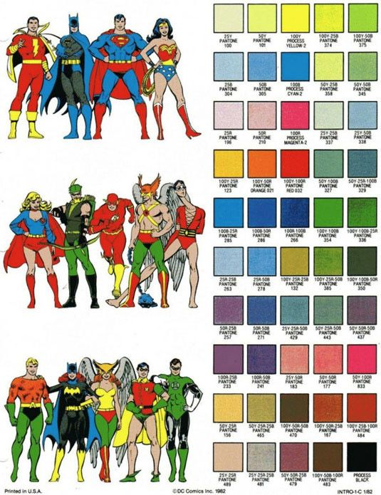 This color sheet from DC Comics dates back to 1982. Incredibly, the ...