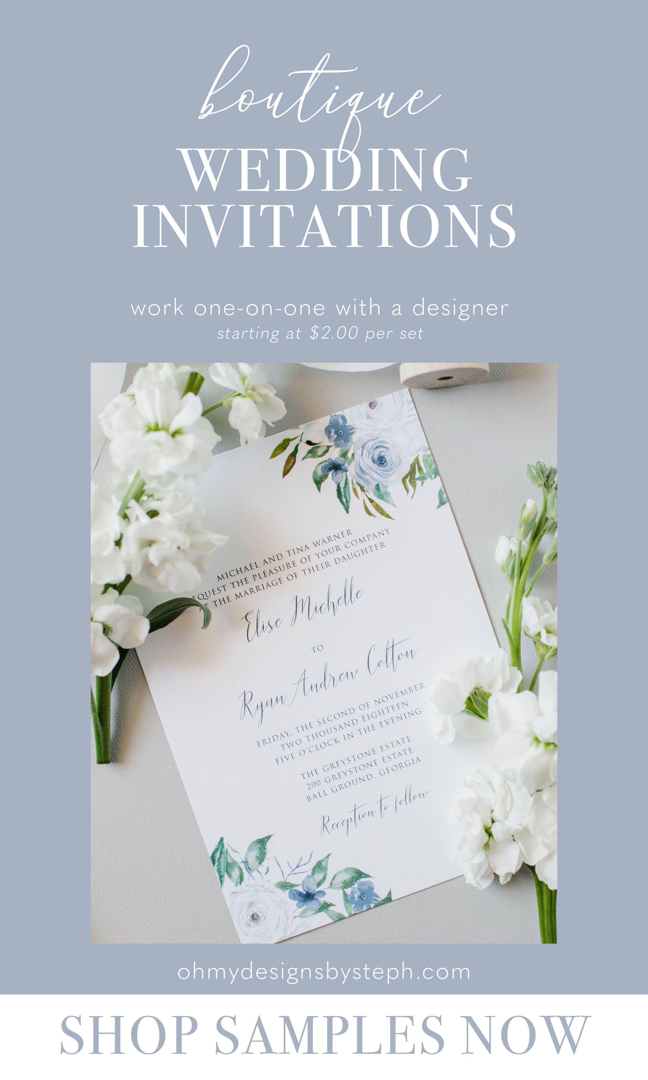 Dusty Blue Floral Wedding Invitation Set Slate Blue Summer Etsy Floral Wedding Invitations Casual Wedding Invitations Blue Wedding Invitations