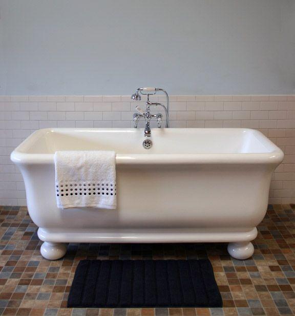 Roman Bath Tub Based On An Antique, Vintage Fireclay Or Porcelain Bath,  Shown With Round Globe Feet