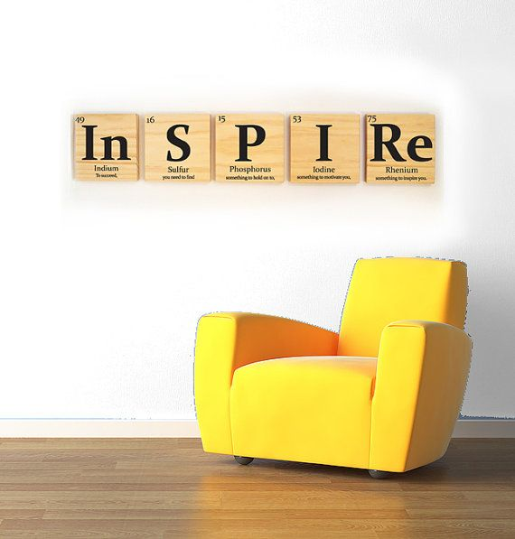 inspire wooden tile wall art with quote periodic table of elements