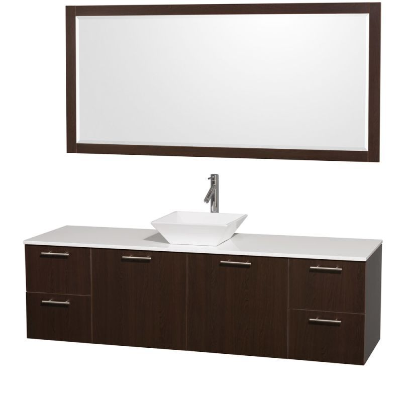 """Wyndham Collection WCR410072 72"""" Wall Mounted Vanity Set with MDF Cabinet Glass Espresso / White Stone Top Fixture Vanity Double"""