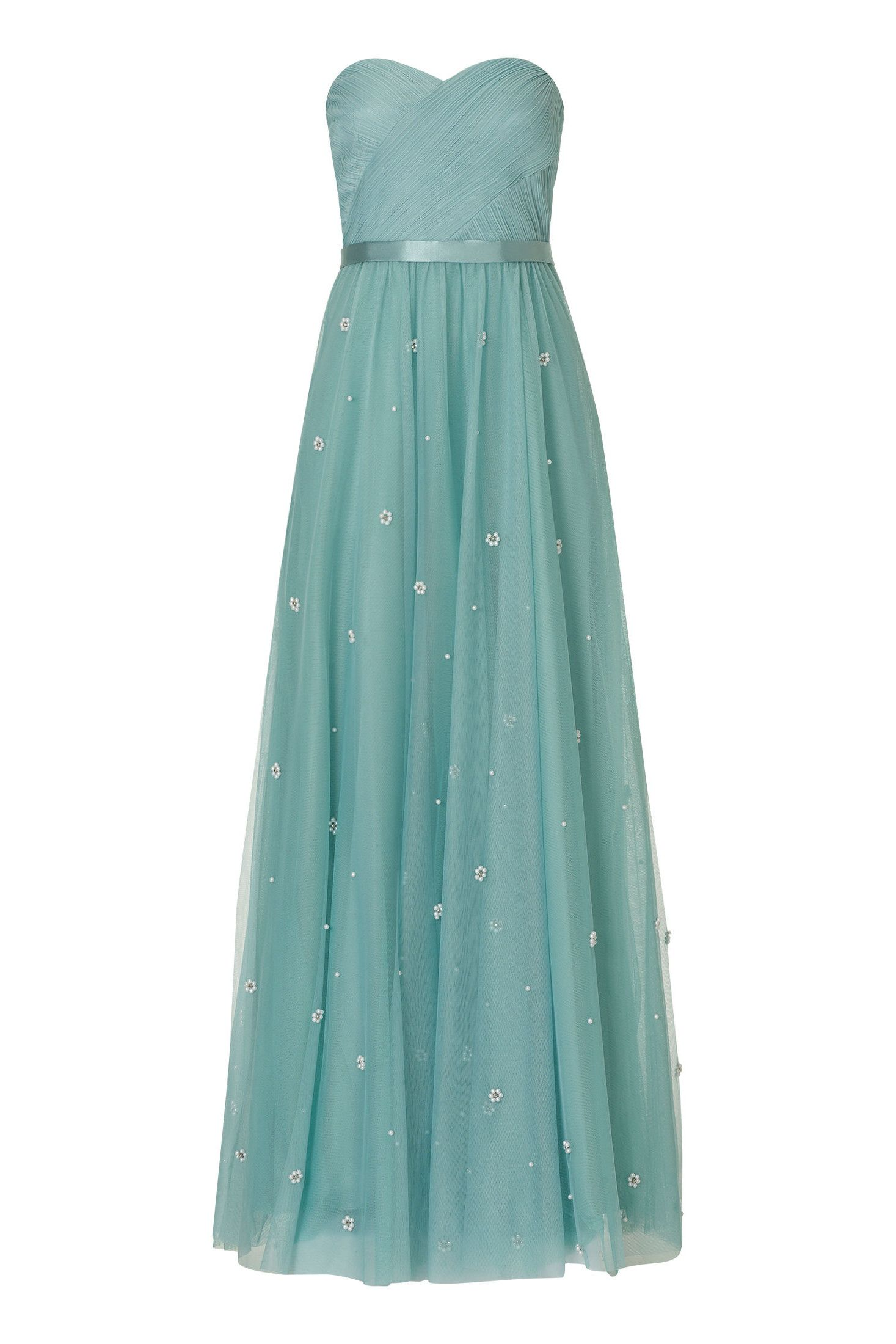 Langes Corsagenkleid aus Tüll Fließend fallendes Abendkleid von