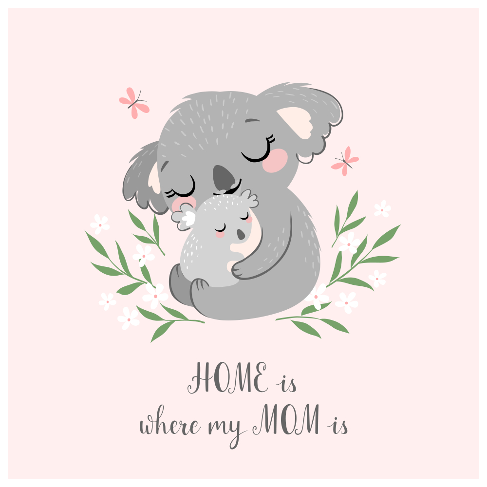 Mothers Day Greeting Card Poster Cute Mothers Day Drawings Mothers Day Cartoon Koala Drawing
