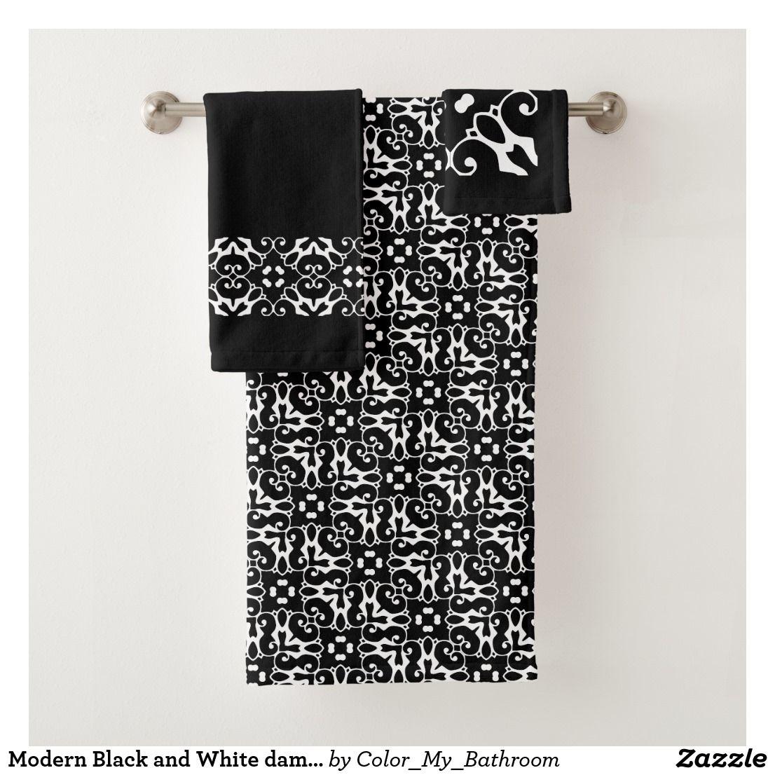 Modern Black And White Damask Bathroom Bath Towel Set Zazzle Com