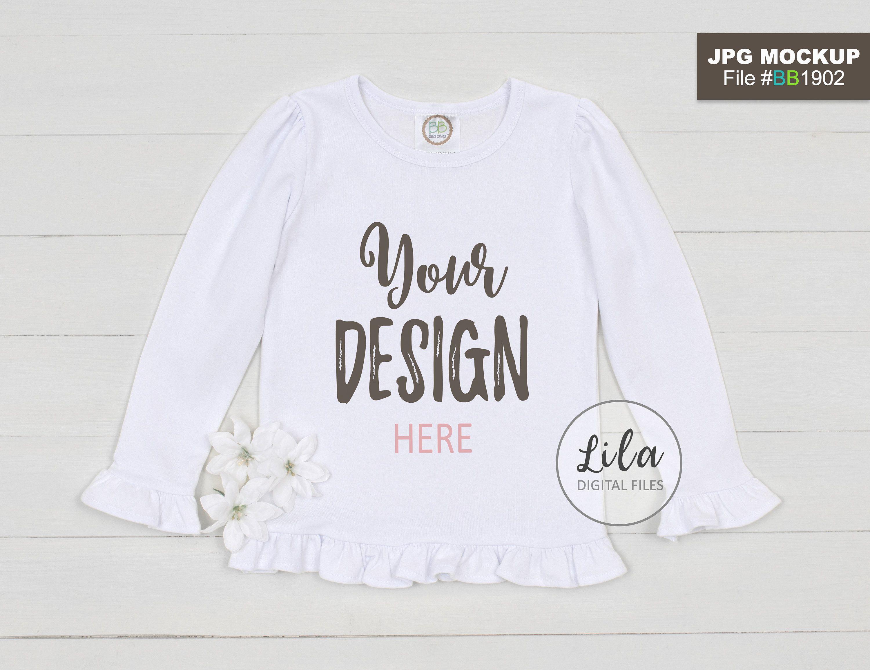 9e5f086adca Mockup Photo of blank white kids ruffle long sleeve shirt, blank ruffled  white T-Shirt Mock-up, Blanks Boutique product photos