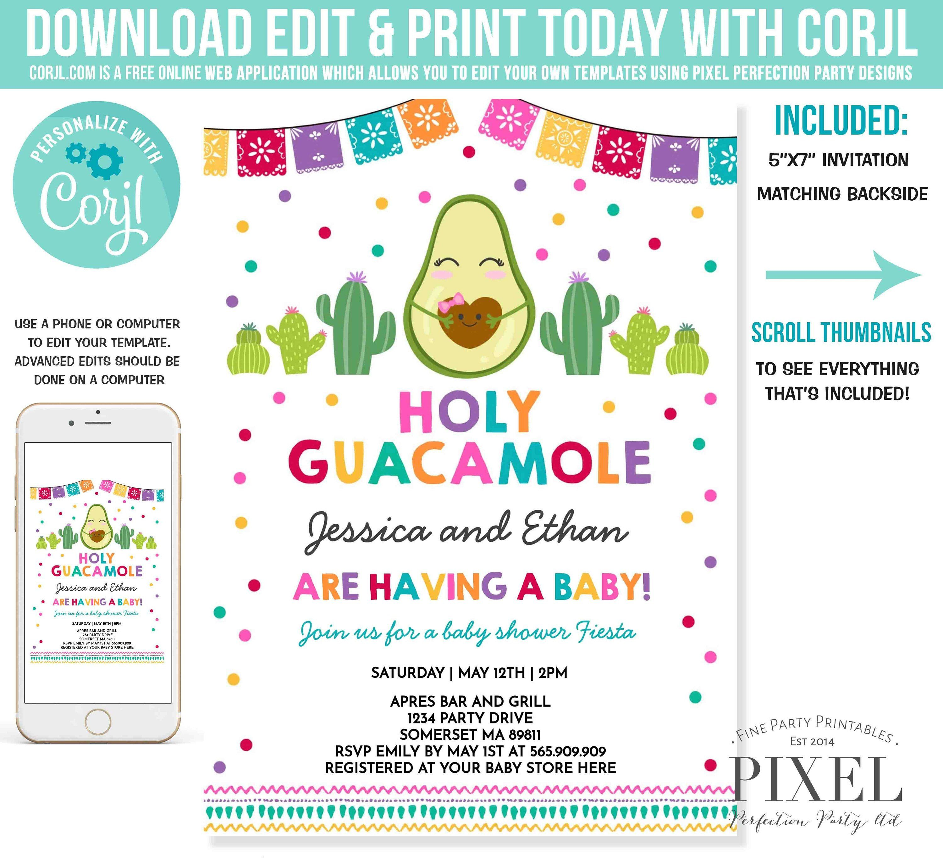 Fiesta Baby Shower Invitation Holy Guacamole